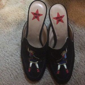 Shoes - Black velvet high heeled slip on s like Cole Hole